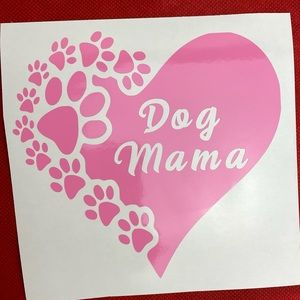 New Dog Mama Heart Paw Prints Pink Vinyl Decal